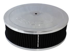 "<strong>Chrome Air Filter Assembly</strong><br /> 9"" x 2-3/4"", 5-1/8"" neck, black washable cotton element"