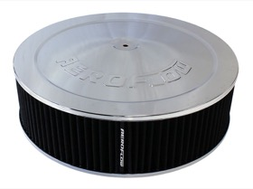 "<strong>Chrome Air Filter Assembly</strong><br /> 14"" x 4"", 5-1/8"" neck, 1-1/8"" Drop base , black washable cotton element"