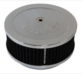 "<strong>Chrome Air Filter Assembly</strong><br /> 6-3/8"" x 2-1/2"", 5-1/8"" neck, black washable cotton element"