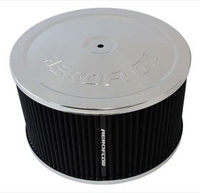 <strong>Chrome Air Filter Assembly</strong><br /> 9&quot; x 5&quot;, 5-1/8&quot; neck, black washable cotton element