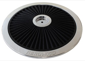 "<strong>Chrome Full Flow Air Filter Top Plate </strong> <br />14"" diameter, black washable cotton element"