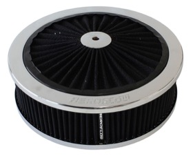 "<strong>Chrome Full Flow Air Filter Assembly with</strong> <br />9"" x 2-3/4"", 5-1/8"" neck, black washable cotton element"