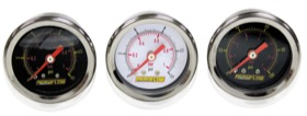 "<strong>1-1/2"" Liquid Filled 15 psi Pressure Gauge </strong><br />Black Face with Orange Pointer. 1/8"" NPT Male Thread"