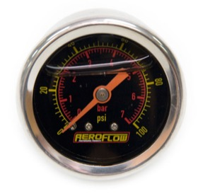 "<strong>1-1/2"" Liquid Filled 100 psi Pressure Gauge </strong><br />Black Face with Orange Pointer. 1/8"" NPT Male Thread"