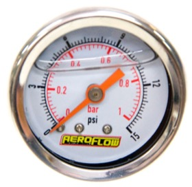 "<strong>1-1/2"" Liquid Filled 15 psi Pressure Gauge </strong><br />White Face with Orange Pointer. 1/8"" NPT Male Thread"