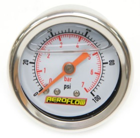 <strong>1-1/2&quot; Liquid Filled 100 psi Pressure Gauge </strong><br />White Face with Orange   Pointer. 1/8&quot; NPT Male Thread