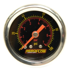 <strong>1-1/2&quot; 100 psi Pressure Gauge</strong><br /> Black Face with Orange Pointer. 1/8&quot; NPT Male Thread