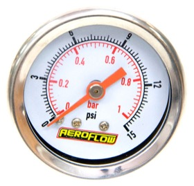 "<strong>1-1/2"" 15 psi Pressure Gauge</strong><br /> White Face with Orange Pointer. 1/8"" NPT Male Thread"