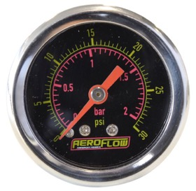 "<strong>1-1/2"" Liquid Filled 30 psi Pressure Gauge </strong><br />Black Face with Orange Pointer. 1/8"" NPT Male Thread"