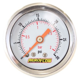 "<strong>1-1/2"" Liquid Filled 30 psi Pressure Gauge </strong><br />White Face with Orange Pointer. 1/8"" NPT Male Thread"