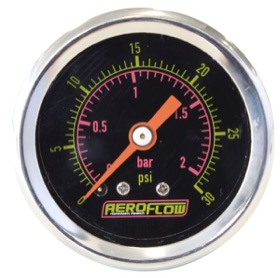 <strong>1-1/2&quot; 30 psi Pressure Gauge</strong><br /> Black Face with Orange Pointer. 1/8&quot; NPT Male Thread