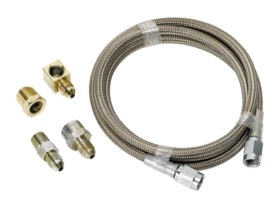 <strong>Stainless Steel Braided Line Gauge Kit -3AN </strong><br /> 3ft Hose Length with Fittings