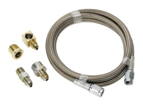 <strong>Stainless Steel Braided Line Gauge Kit -4AN </strong><br /> 3ft Hose Length with Fittings