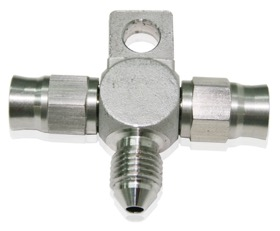 <strong>Stainless Steel Tee Block with Mount Tab -3AN </strong><br /> -3AN Male on Side