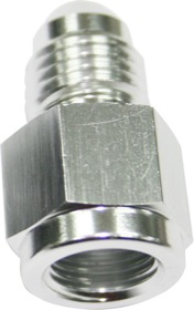 "<strong>Straight Female NPT to Male AN Adapter 1/8"" to -3AN</strong><br /> Silver Finish"
