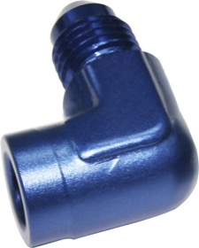 "<strong>90° Female NPT to Male AN Adapter 1/8"" to -3AN </strong><br /> Blue Finish"