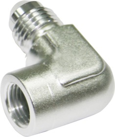 "<strong>90° Female NPT to Male AN Adapter 1/8"" to -4AN </strong><br /> Silver Finish"