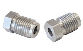 "<strong>Stainless Steel Inverted Flare Tube Nut </strong><br /> 7/16""-20 to 3/16"" Hard Line"