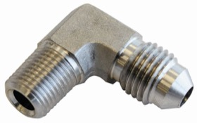 <strong>Stainless Steel 90&deg; NPT Male to AN Fitting</strong><br /> 1/4&quot; NPT to Male -4AN
