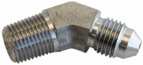 "<strong>Stainless Steel 45° NPT Male to AN Fitting</strong><br /> 1/4"" NPT to Male -3AN"