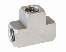 "<strong>Stainless Steel Inverted Female T-Block </strong><br />2 x 3/8""-24 inverted seat, 1 x 1/8""-27 on the side"