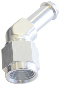 "<strong>45° Hose Barb 3/8"" to -6AN</strong> <br />Silver Finish"