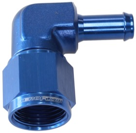 <strong>90&deg; Hose Barb 3/8&quot; to -8AN</strong> <br />Blue Finish