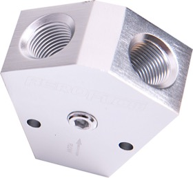 "<strong>Billet Y-Block with 1/8"" NPT Port - 3/4"" to 3/4"" </strong><br />Silver Finish"