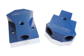"<strong>Billet Y-Block with 1/8"" NPT Port - 10 ORB Inlet, -8 ORB Outlets</strong> <br /> Blue Finish"