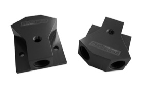 <strong>Billet Y-Block with 1/8&quot; NPT Port - 10 ORB Inlet, -8 ORB Outlets</strong> <br /> Black Finish