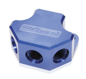 <strong>Billet 4 Port Y-Block with 3 x -8AN, 1 x -10AN Ports</strong><br /> Blue Finish