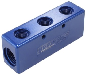 <strong>Billet 5 Port Fuel Log 3 x -6AN, 2 x -8AN </strong><br />Blue Finish
