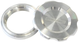"<strong>Low Profile Billet Aluminium Filler Cap & Bung</strong><br />1-1/2"" Female weld-on bung, includes Buna N & EPR O-rings. Raw Cap"
