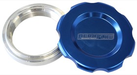 "<strong>Low Profile Billet Aluminium Filler Cap & Bung</strong><br />1-1/2"" Female weld-on bung, includes Buna N & EPR O-rings. Blue Cap"