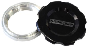 "<strong>Low Profile Billet Aluminium Filler Cap & Bung</strong><br />1-1/2"" Female weld-on bung, includes Buna N & EPR O-rings. Black Cap"