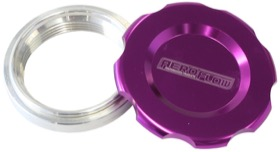 "<strong>Low Profile Billet Aluminium Filler Cap & Bung</strong><br />1-1/2"" Female weld-on bung, includes Buna N & EPR O-rings. Purple Cap"