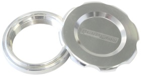 "<strong>Low Profile Billet Aluminium Filler Cap & Bung</strong><br />1-1/2"" Female weld-on bung, includes Buna N & EPR O-rings. Silver Cap"