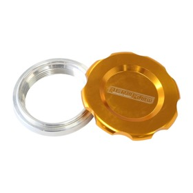 <strong>Low Profile Billet Aluminium Filler Cap &amp; Bung</strong><br />2-1/2&quot; Female weld-on bung, includes Buna N &amp; EPR O-rings. Gold Cap