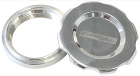 "<strong>Low Profile Billet Aluminium Filler Cap & Bung</strong><br />2-1/2"" Female weld-on bung, includes Buna N & EPR O-rings. Polished Cap"