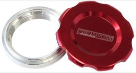 "<strong>Low Profile Billet Aluminium Filler Cap & Bung</strong><br />2-1/2"" Female weld-on bung, includes Buna N & EPR O-rings. Red Cap"