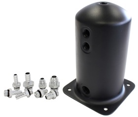 "<strong>2.5 Litre Spun Alloy Surge Tank</strong><br /> Available with 3 x 3/8"", 1 x 1/2"" or 3 x -6AN, 1 x -8AN, Black Finish"