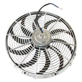 "<strong>16"" Chrome Electric Thermo Fan</strong> <br />Curved Blades"
