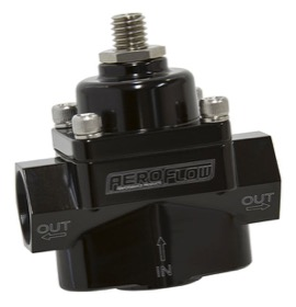 <strong>Billet 2-Port Fuel Pressure Regulator with -8 ORB Ports</strong><br /> Black Finish. 4.5-9 psi Adjustable