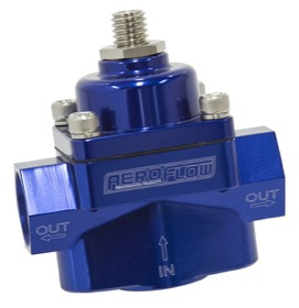 <strong>Billet 2-Port Fuel Pressure Regulator with 3/8&quot; NPT Ports</strong> <br />Blue Finish. 4.5-9 psi Adjustable