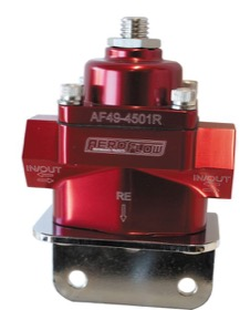 <strong>Billet Bypass 2-Port Fuel Pressure Regulator with -8 ORB Ports</strong><br />Red Finish. 4.5-9 psi Adjustable