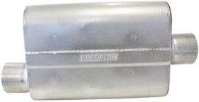 "<strong>Aeroflow 5000 Series Mufflers - Offset Inlet/Centre Outlet</strong> <br /> 2-1/2"" Inlet, 2-1/2"" Outlet, 16 gauge Aluminised Steel, Chambered"
