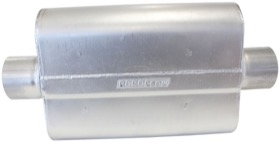 "<strong>Aeroflow 5000 Series Mufflers - Centre Inlet/Centre Outlet</strong> <br />2-1/2"" Inlet, 2-1/2"" Outlet, 16 gauge Aluminised Steel, Chambered"