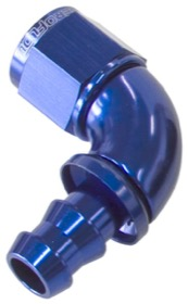 <strong>510 Series Full Flow Tight Radius Push Lock 90° Hose End -10AN </strong><br />Blue Finish. Suit 400 Series Hose