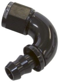 <strong>510 Series Full Flow Tight Radius Push Lock 120° Hose End -4AN </strong><br />Black Finish. Suit 400 Series Hose