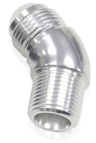 "<strong>45° NPT to AN Full Flow Adapter 1/4"" to -4AN</strong><br /> Silver Finish"